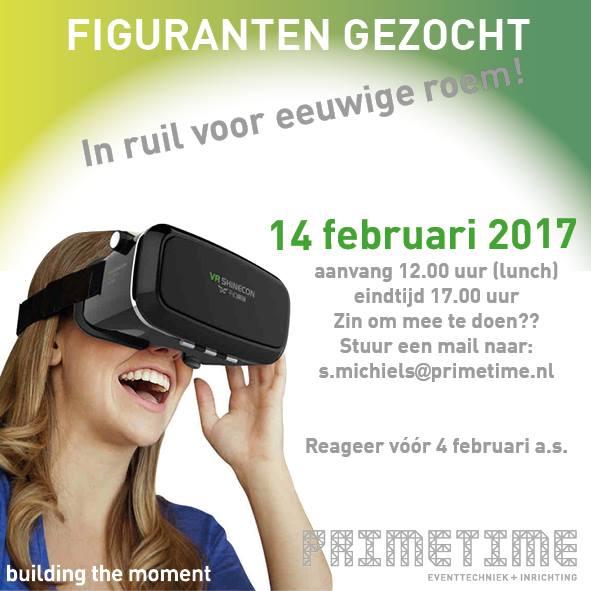 Word jij een van de figuranten in onze Virtual Reality  …